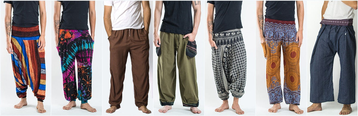 Mens Thai Yoga Pants, Trousers, and Shorts
