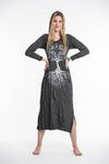 Sure Design Womens Tree Of Life Long Sleeve Hoodie Dress Silver on Black