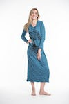 Sure Design Womens Tree Of Life Long Sleeve Hoodie Dress Denim Blue