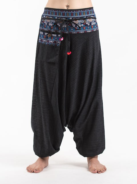 Pinstripe Cotton Low Cut Harem Pants with Elephant Trim in Black