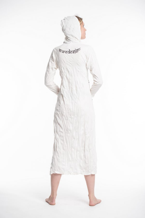 Womens Tree of Life Long Hoodie Dress in White