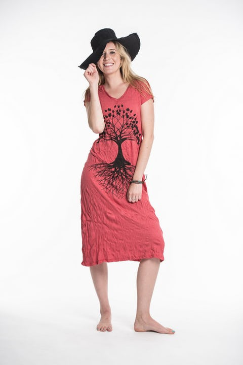 Sure Design Womens Tree Of Life V Neck Tee Dress Red