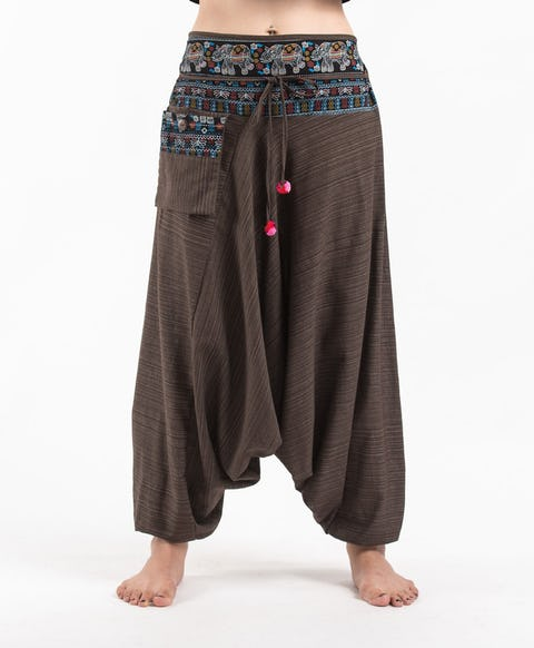 Pinstripe Cotton Low Cut Harem Pants with Elephant Trim in Brown
