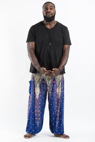 Plus Size Peacock Feathers Unisex Harem Pants in Blue
