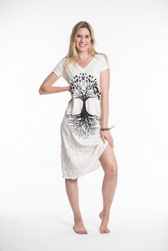 Sure Design Womens Tree Of Life V Neck Tee Dress Silver on Black