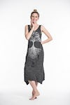 Sure Design Womens Tree Of Life Scoop Neck Tank Dress Silver on Black