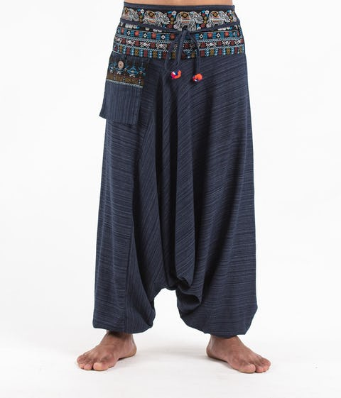 Pinstripe Cotton Low Cut Harem Pants with Elephant Trim in Navy