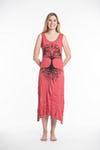 Womens Tree of Life Long Tank Dress in Red