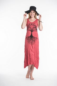 Womens Tree of Life V Neck Long Dress in White