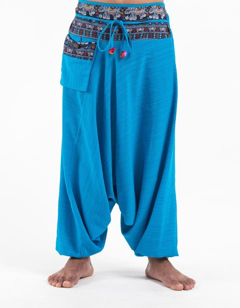 Pinstripe Cotton Low Cut Harem Pants with Elephant Trim in Blue