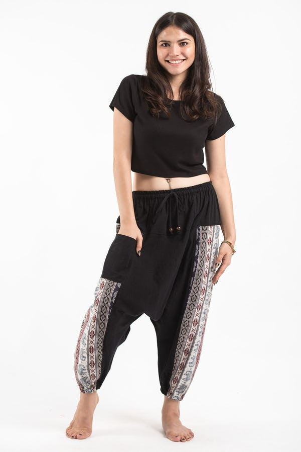 Elephant Aztec Cotton Unisex Harem Pants in Black