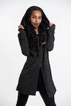 Hoodie Shawl Jacket with Metal Clasp in Black