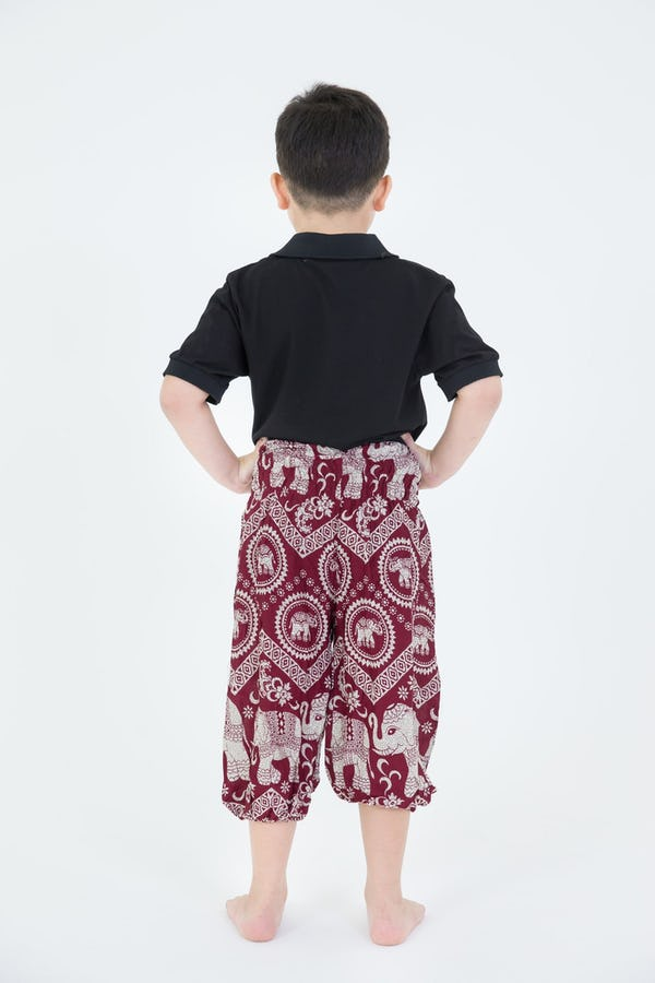 Kids Imperial Elephant Harem Pants in Red