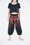 Kids Floral Harem Pants in Black