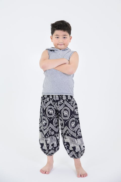 Kids Imperial Elephant Harem Pants in Black
