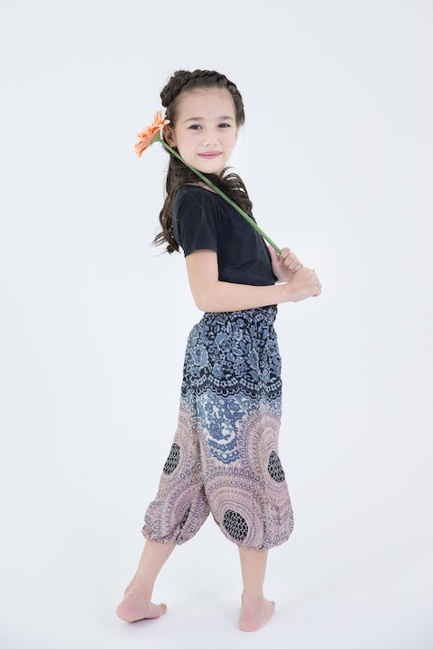 Kids Geometric Mandalas Harem Pants in Silver Gray