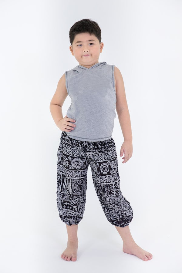 Kids Tribal Prints Harem Pants in Black