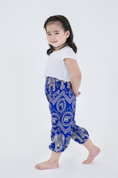 Kids Peacock Feathers Harem Pants in Blue
