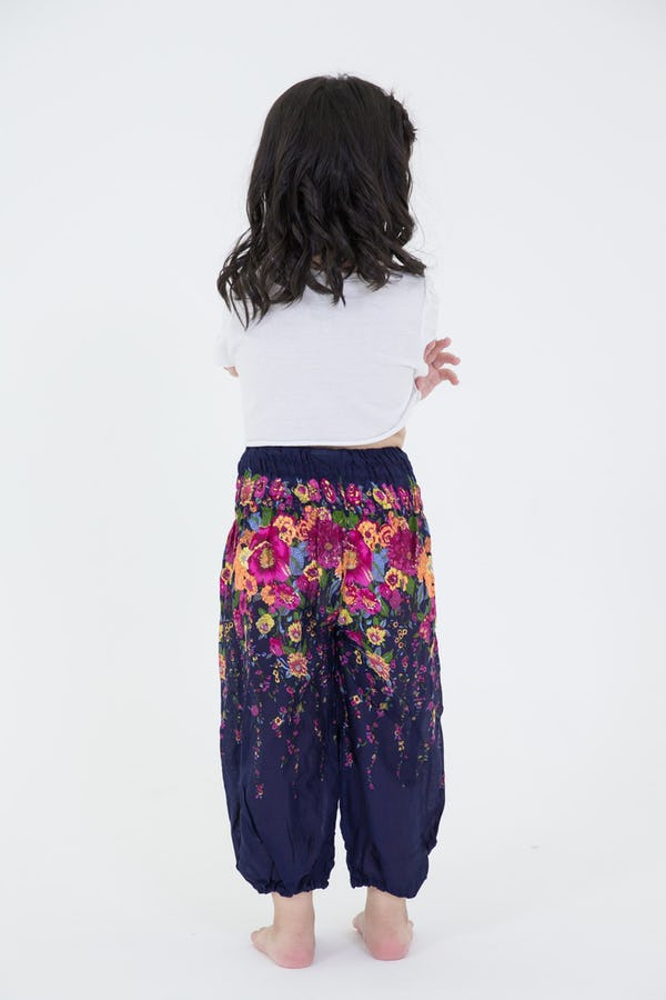 Kids Floral Harem Pants in Blue