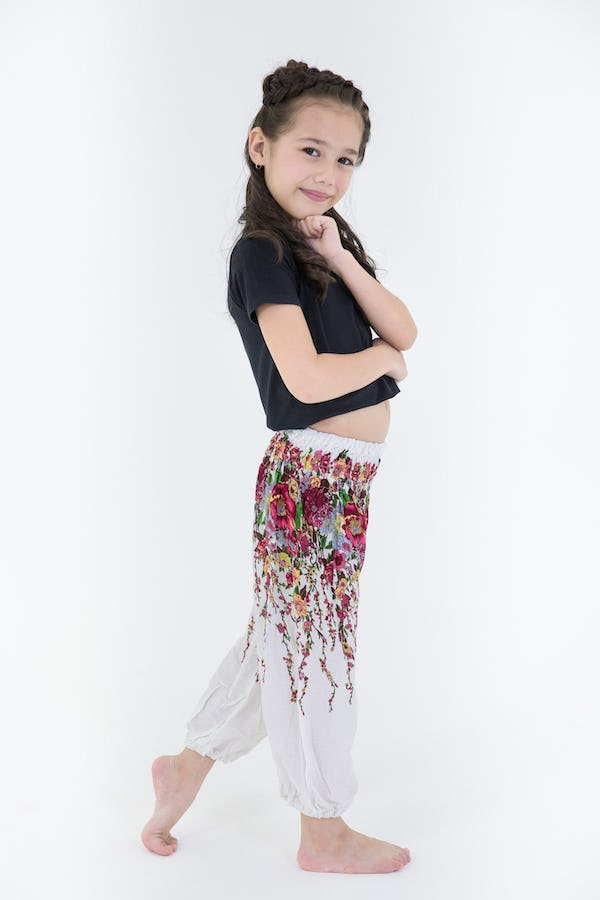 Kids Floral Harem Pants in White