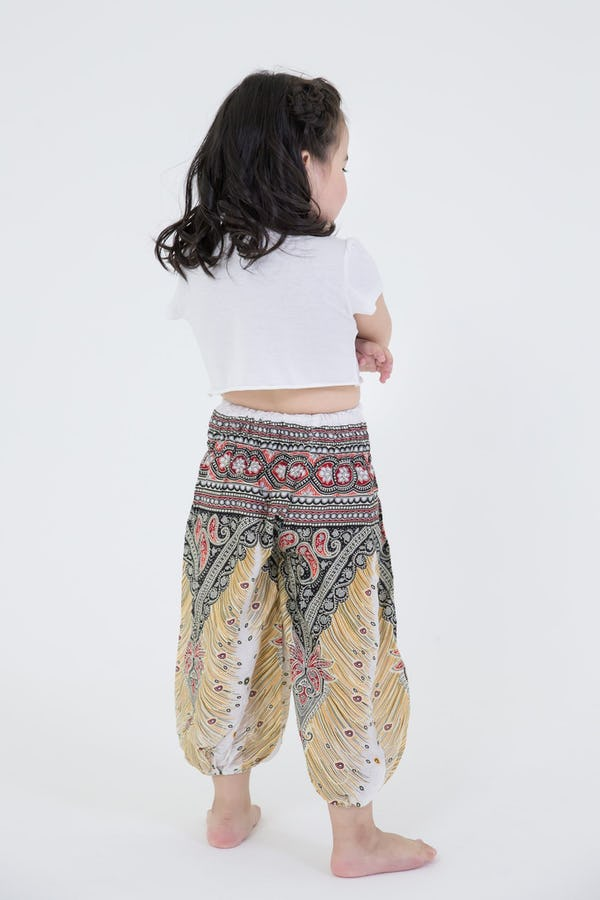 Kids Peacock Feathers Harem Pants in White