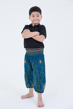 Kids Peacock Feathers Harem Pants in Black