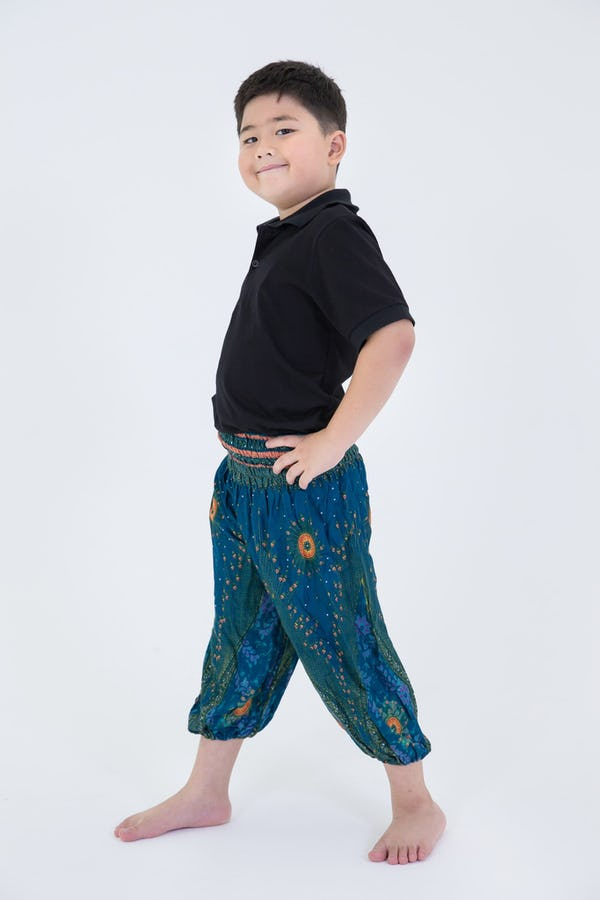 Kids Peacock Eye Harem Pants in Turquoise