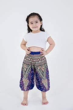 Kids Geometric Mandalas Harem Pants in Blue