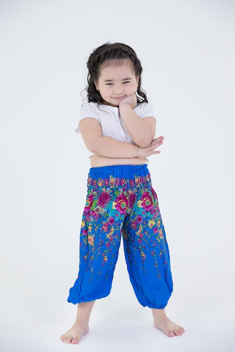 Kids Floral Harem Pants in Turquoise