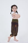 Kids Peacock Eye Harem Pants in Brown