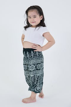 Kids Geometric Mandalas Harem Pants in Red