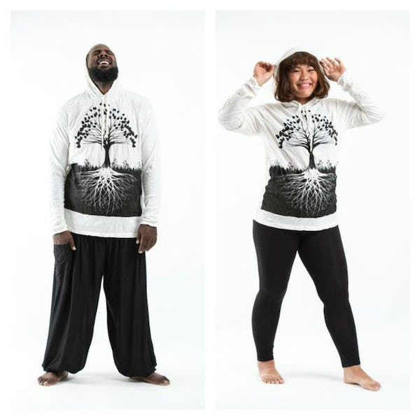 Plus Size Unisex Hoodie Tree of Life White