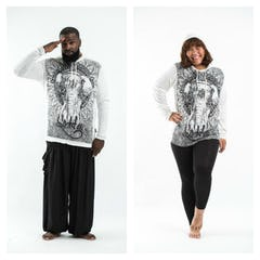 Plus Size Unisex Octopus Hoodie in Gray