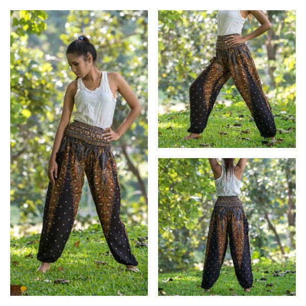 Peacock Feathers Unisex Harem Pants in Black