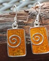 Sterling Silver Thai Earrings Gold Enamel Swirl