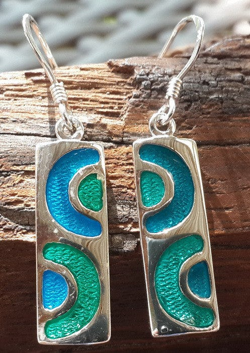 Sterling Silver Thai  Earrings Blue Green Enamel Swirl
