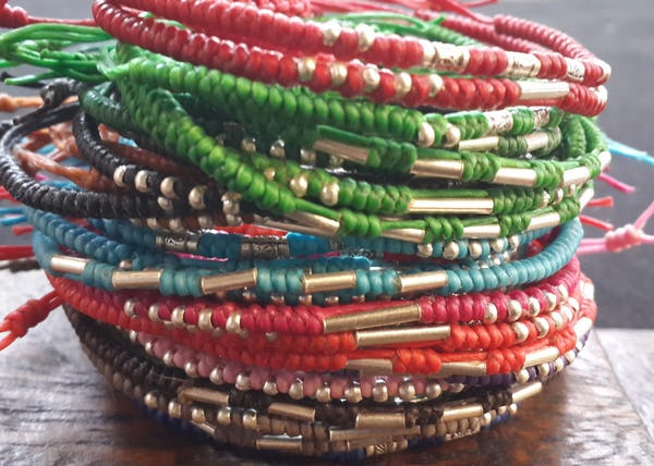 Fair Trade Thai Hill Tribe Silver  Beaded Waxed Cotton Bracelet Red
