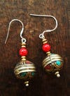 Tibetan Hand Crafted Sterling Silver With Stone Earrings 0001