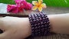 Purple Elastic Bracelet Wood Beaded Mala Style Fair Trade