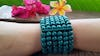 Turquoise Elastic Bracelet Wood Beaded Mala Style Fair Trade
