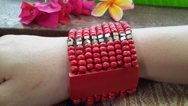 Red Silver Elastic Bracelet Wood Beaded Mala Style Fair Trade