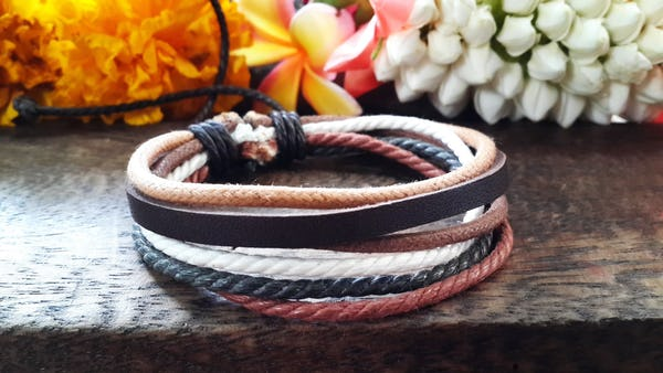 Fair Trade Hand Made Woven Leather Bracelet 5 Strand Earth Tones