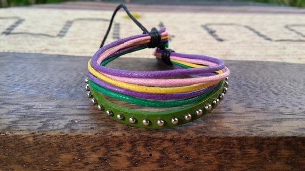 Adjustable Hand Made Multi Strand Waxed Cotton Leather Bracelet Green