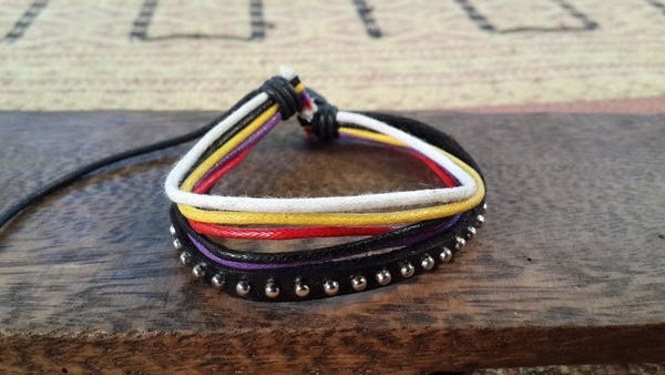 Adjustable Hand Made Multi Strand Waxed Cotton Leather Bracelet Black