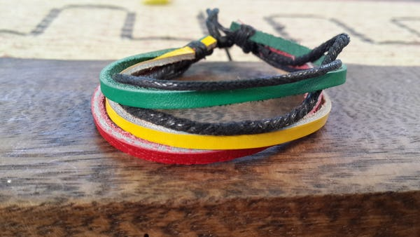 Fair Trade Hand Made Woven Leather Bracelet 3 Strand Rasta