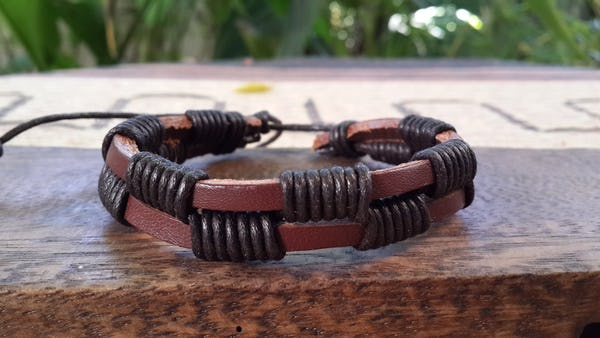 Fair Trade Hand Made Woven Leather Bracelet Double Wrap Brown
