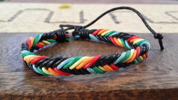 Fair Trade Hand Made Woven Leather Bracelet Braided in Multi Color