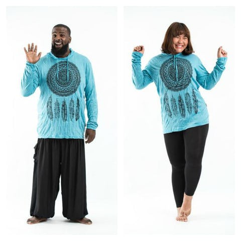 Plus Size Unisex Dreamcatcher Hoodie in Turquoise