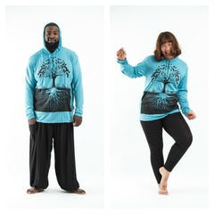 Plus Size Unisex Wild Elephant Hoodie in Purple