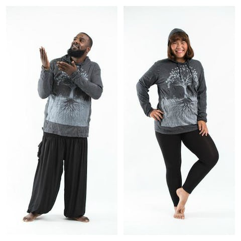 Plus Size Unisex Tree of Life Hoodie in Silver on Black